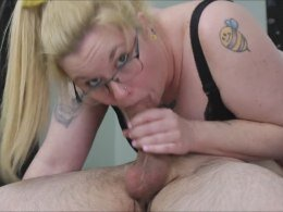 Tattooed wife gets a mouthful of cum while blowing me in 69