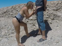 Sucking a dick outdoors is fun for her