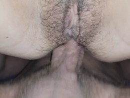 Dividing my babe's hot hairy pussy lips with my boner