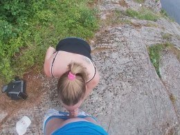 Wife and her hubby gets wild while they are hiking