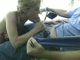Hot and messy blowjob on the porch