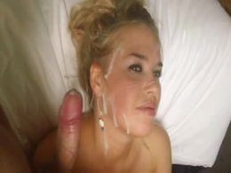 Great real homemade blowjob ends with facial