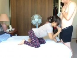 Asian slut gets in doggy position for some white dude