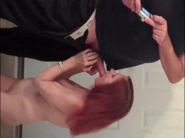 Hot redhead milf showing her body and sucking a cock