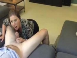 Hot brunette cougar gives her man a nice long blowjob