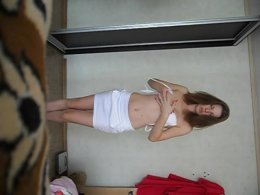 Cute solo petite babe showing off