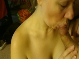 Super hot MILF sucking a white shaft like a pro