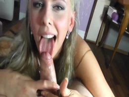 Hot blonde craves a massive love tool between her lips
