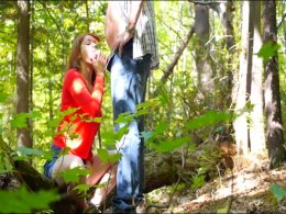 Pretty babe sucks dick and gets fucked in the woods