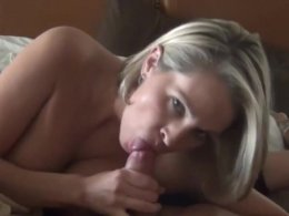 Amazing mature wife sucking dick and getting a big cumshot