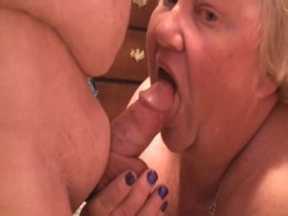 Fat blonde chick playing with her lover's hard love rod
