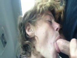 Dick hungry blonde sucking on her man's massive love tool
