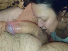 Mature wife treats me with a really nice sloppy blowjob