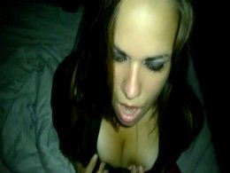 Hot busty brunette sucking a big dick to a facial cumshot