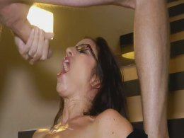 Excited brunette milf gets a big facial cumshot after sucking dick