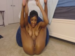 Skinny ebony chick gets comfortable for a gentle masturbating session