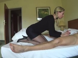 German blonde wife sucks dick and gets fucked hard