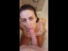 Ex-girlfriend sucks my big fat cock dry in the shower