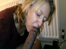 My cock is so big and fat she's having trouble sucking