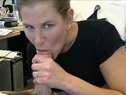 She likes playing with cum as much as sucking dick