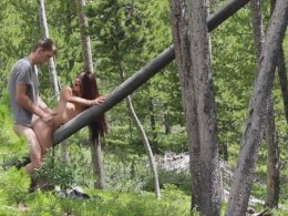Long-haired Asian beauty gets fucked hard by her man in the forest