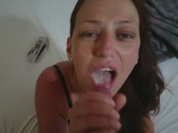 Ending The Hot Handjob Session With An Amazing Cum Swallow