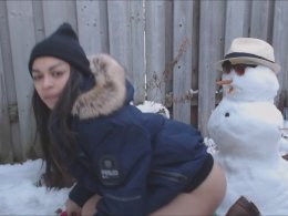 Putting A Dildo On A Snowman As I Fuck Myself