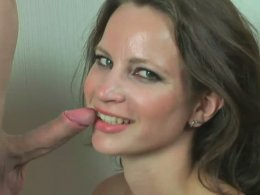 Stunning Brunette Is Filmed As She Sucks His Prick