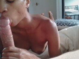 Ebony Cutie Gives A Blowjob To Her Boyfriend With A Cock Ring