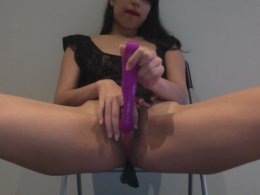 Come inside to see my tight Asian pussy being dildoed