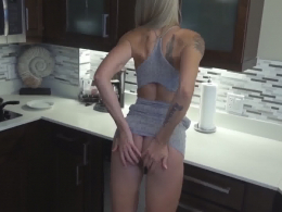 POV kitchen fuck with a perfect blue-eyed blonde