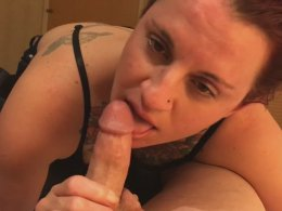 Wife licking and drooling all over a long rod