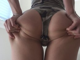 Amazing amateur wife on her knees taking warm jizz on her face