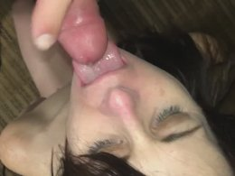 Open your mouth wild and let me cum in them