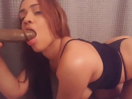 Hot sexy Latina with a big ass sucking a fake rod